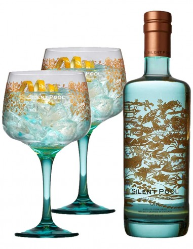Gin Silent Pool London Dry Gin avec 2 verres 70 cl.